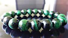 "Genuine Emerald Green Tiger Eye Bead Bracelet for Men Women Stretch 10mm - 7.5"""