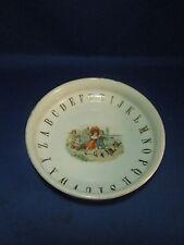 Vintage German Gold Alphabet Youth Shallow Bowl- Victorian Children & Chickens