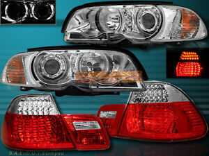 00-03 BMW E46 COUPE HALO PROJECTOR HEADLIGHTS CLEAR+CORNER LIGHTS+TAIL LIGHTS