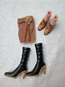 BRATZ doll clothes Style It Hippie Chic Cloe cord flower skirt black boots shoes