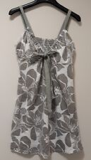 Ladies Next grey patterned cotton top w bow -  size 14 (42)