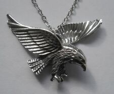 Chain Necklace #1156 Pewter EAGLE in FLIGHT (34mm x 24mm) BIRD PENDANT