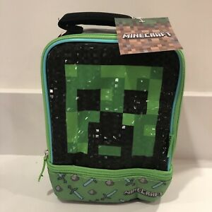 Thermos Kids Soft Dual Compartment Insulated Minecraft Creeper Lunch Box Bag NEW