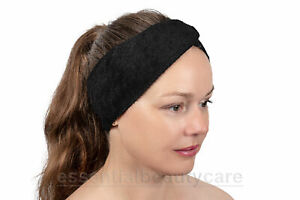 Black STRETCHY terry towelling toweling headband with festening