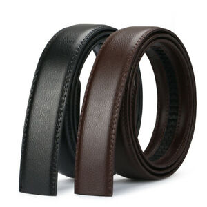 Luxury Men's Automatic Buckle Belt Strap Black Brown Leather Ratchet Strap Jeans