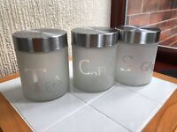 SET OF 3 FROSTED GLASS TEA COFFEE SUGAR JARS CANISTERS KITCHEN STORAGE JARS