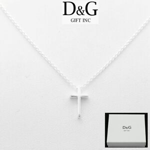 "DG Women's 925 Italy Sterling Silver Cross Mini Pendant 16""-18""Necklace + Box"