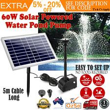 60W Solar Powered Water Pond Pump In/Outdoor Garden Fountain Energy Efficient