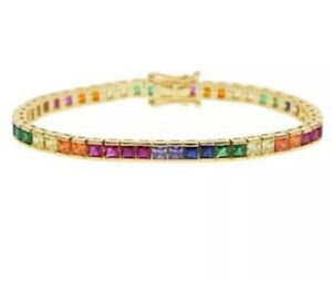 18K Gold Filled Rainbow Multicolored Princess Cut Gemstone Tennis Bracelet 17cm