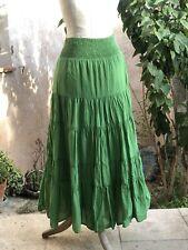 Jupe longue/jupon coton bohème T 36 promod vert TBE