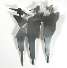 """Sterling Silver Brooch Art Deco Mid Century Modernist Mexico Couture  Pin 2.5"""""""