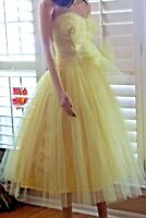 ~ VTG 50s Prom Party Yellow  Tulle Strapless  Cupcake  Prom Party Tea Dress XS