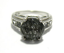 STERLING SILVER GRAY QUARTZ CLEAR STONE RING BAND SIZE 7  4.6 GRAMS SYBOLL
