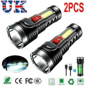 2PCS Super Bright 10000000LM Torch LED Flashlight USB Rechargeable Tactical Lamp