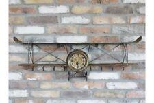 Vintage Large Aeroplane Clock Shelf + Hooks Shelving Unit Ideal Bedroom Feature