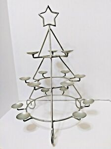 """22"""" Christmas Tree Ball Candle Holder Silvertone Holds 15 Candles 22"""" Tall x 16"""""""
