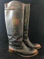 Womens FRYE Melissa Black Brown Distressed Leather Knee High Riding Boots Sz. 8