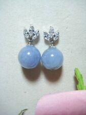 100% natur Jade Ohrring 925 Silber Ohrstecker Perlen Schmuck 14 mm lila