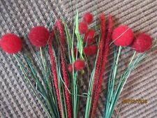 NEU-7 Kunstpflanzen rot Rispe Gras Pom Pom künstliche Blumen Hirse Kolben 70 Pon