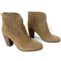 NEW Vince Camuto Fretzia Ankle Boots Womens Size 10.5 Brown Suede Perforated