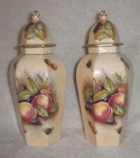 "Aynsley Fine Bone China Orchard pair of Urns Fruits Signed D. Jones England 9"""