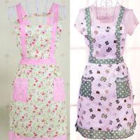Restaurant Cooking Kitchen Bib  Waitress Women Apron Dress With Pocket