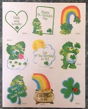 Vintage 80s CARE BEARS Sticker Sheet~Irish~St. Patrick's Day~RAINBOW~Luck~Gold