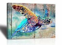 "Coastal Decor Turtle Colorful Ocean Sea Print Art Picture 12"" x 16"" Nautical"