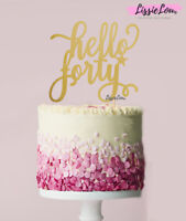 LissieLou Hello Forty Birthday Cake Topper Mirror Card Made in the UK