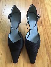 Bandolino Formal Black Satin Ankle Strap Heel with Rhinestone buckle size 7.5m
