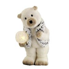 Eisbär mit LED Kugel 26 cm Keramik Bär Figur Dekofigur