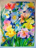 IRISES 2   Original Watercolor Painting