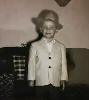 Vintage Old 1950's Poloroid Photo of Adorable Little Blond Boy in Suit & Hat 👼