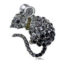 Brosche / Anhänger hübsche Maus, schwarze und graue Steine, silberfarben