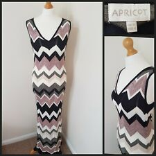 Apricot Long Pink/Grey/White Zigzag Knitted Maxi Dress Size 12