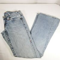 True Religion Womens Jeans Sz 25 Low Rise Flare Twisted Seam Distressed Light