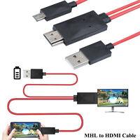 MHL auf HDMI Adapter für 11Pin Micro-USB 2.0Handy Tablet Rot zu HD TV Kabel DE