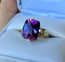 Estate Color Change Sapphire Solitaire Ring 10k Yellow Gold