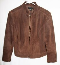 Valerie Stevens Suede Leather Jacket Chocolate Brown Zipper Front Womens Size M