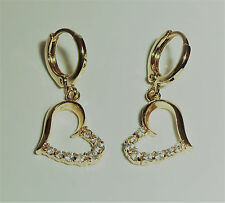 9ct Gold Plated Stone Set Heart Drop Earrings, 12mm wide x 26mm drop.