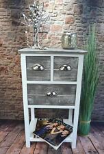 Nachttisch Nachtschrank Nachtkommode Landhaus Grau Weiß Shabby H70 cm LV1027