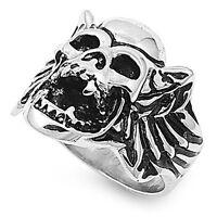 Men's 316L Stainless Steel Heavy Gargoyle Skull Biker Band Ring US Size 10-15