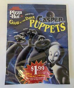 ULTRA RARE 1995 Pizza Hut CASPER & FRIENDS Glow-in-the Dark Puppet Flyer