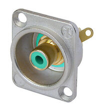 Neutrik NF2D-5 Phono socket in nickel D-shape housing, GREEN solder 1164