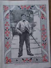 Original 1904 Print ENGINE DRIVER DWW RAILWAY RAIL TRAIN  B/W Book Illustration