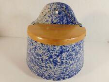 Blue Spongeware Wall Mount Ceramic Salt Box