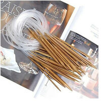 "18Pairs Bamboo Knitting Needles 16"" Circular Smooth Nature Carbonized Set Gy"