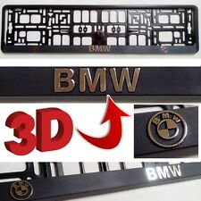 Black 3D BMW European Euro License Number Plate Holder Mounting Frame German EU