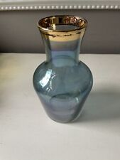 Vintage Medium Vase in Iridescent Blue with Gold Detailing
