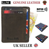 Mens Leather Wallet RFID Safe Slim Front Pocket Designer Cash Credit Card Holder